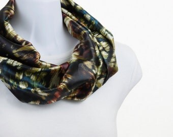 Silky Infinity Scarf - Rich Jewel Tones Pine Green Gold Cranberry Red ~ SK202-S5