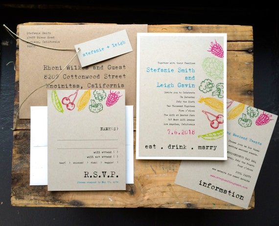 Wedding Invitations Foodie Wedding Invitations Rustic