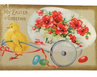 Vintage Easter Postcard Lot 5 Antique Victorian Easter Postcards including Embossed Chicken Cross Egg Lily Daisy Daisies