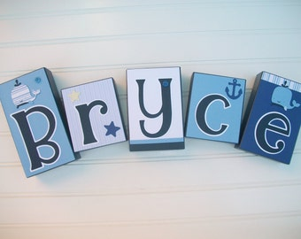 Baby Name Blocks .Nautica Kids Brody . Nautical Name Blocks . Sail Boat . Nursery Name Blocks . Nursery Decor . Baby Boy  . Name Blocks .