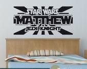 Star Wars Wall Decal - Personalized Name Jedi Knight - Vinyl Sticker Boys Bedroom Wall Decor - WD0388