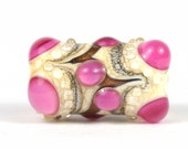 Pink and Ivory Lampwork Focal Glass Bead - L size
