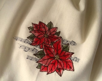 Musical Christmas Poinsettias embroidered towel