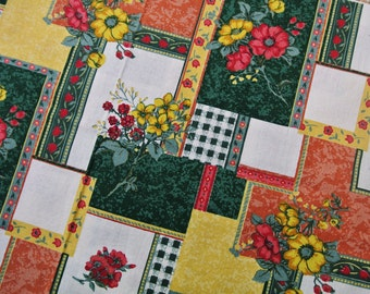 Vintage 1980s unused prewashed cotton design patchwork fabric with larger multicolor printed square/ flower pattern