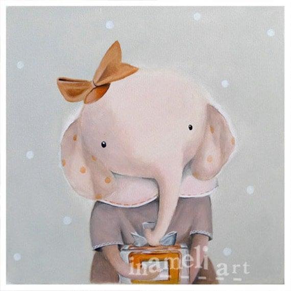 Girl Art Print, Children's wall art print, elephant illustration, girls room decor, nursery animal art, cute elephant by inameliart