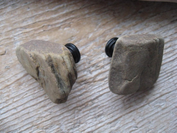 Natural Beach Stone Cabinet Knobs RUSTIC STONE Cabinet Knobs