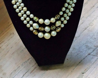 Vintage Faux Pearl Necklace 3 Strand Off White and Champagne Beads Wedding Jewellery Bridal Party Jewelry Gift Guide Women