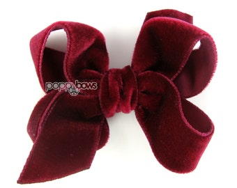 "Burgundy velvet hair bow, 3"" hair bow, Christmas hair bow, girls hair bows, baby hair bow, velvet hair clip, dark red, velvet hair clips"