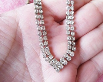 Rhinestone Choker Necklace 2 Strand V Shape Vintage Wedding