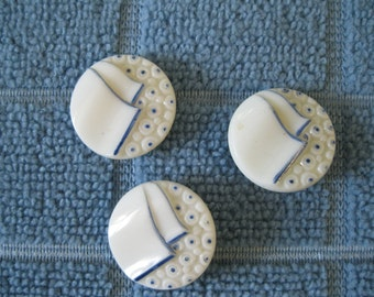 Vintage 1960's Painted Milk Glass Buttons Set of Three