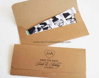 SAVE THE DATE Photobooth Photo-Strip Picture holder Envelopes Wedding Party Favor Disney Themed Wedding