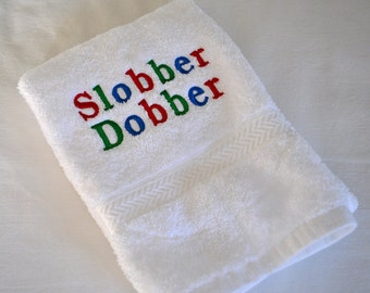 Embroidered Cotton Drool Hand Towel Slobber Dobber or Others