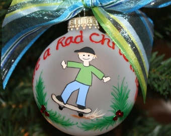 Stick Figure Skateboarder Personalized Ornament hand-painted and custom designed