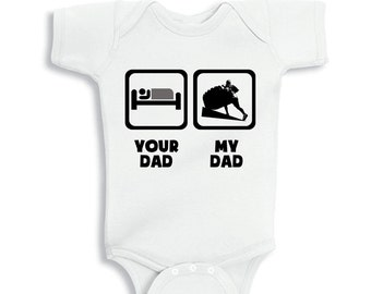 My Daddy lift Weights your Daddy sleep baby bodysuit or Kids Shirt