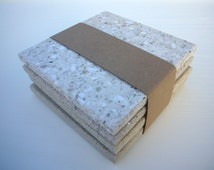 4 Speckled Stone Coasters - Modern Coasters - Drinks Stand - Stone Mug Mats - Set of 4 - Upcycled Houseware - Four Tile Coasters