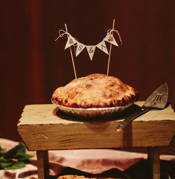 Monogramed Baker Banner wedding cake topper, pie topper, bunting,