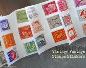 100 Vintage Small Postage Stamp stickers/ seals- Mixed colors- travel wedding