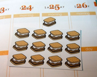S'mores Stickers-Planner Stickers 24 count