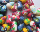 Mixed Flower Acrylic Teardrop Beads 13x8mm 12 Beads