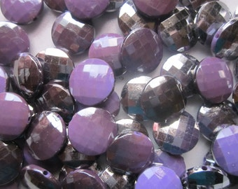 Purple and Silver Toned Flat Plastic Beads 20mm 14 Beads
