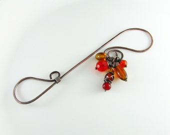 Wire Bookmark Copper Wire Beaded Red Yellow and Orange Copper Wire Wrapped Bookmark