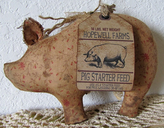 Items similar to cinnamon grunged primitive calico pig for Pig decorations for home