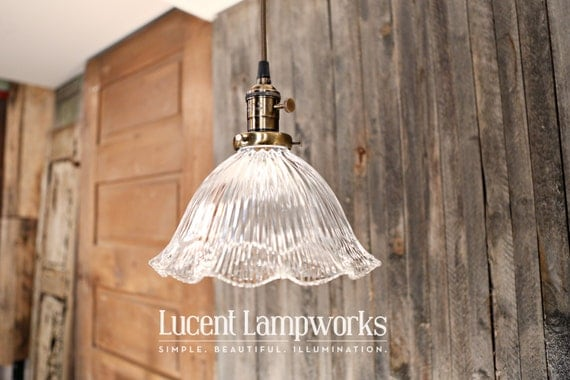Hanging Lighting with Holophane Glass Shade with Ruffled Design