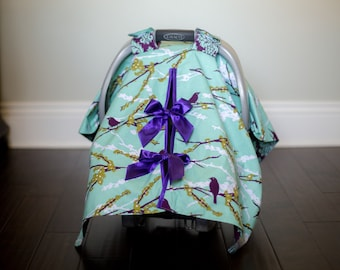 "Baby Car Seat Canopy Cover with slit AND Nursing Veil / Nursing Cover - ""Plum Tweet"""