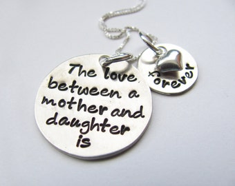 The love between a mother and daughter is forever necklace.  Inspirational for mommy and daughter