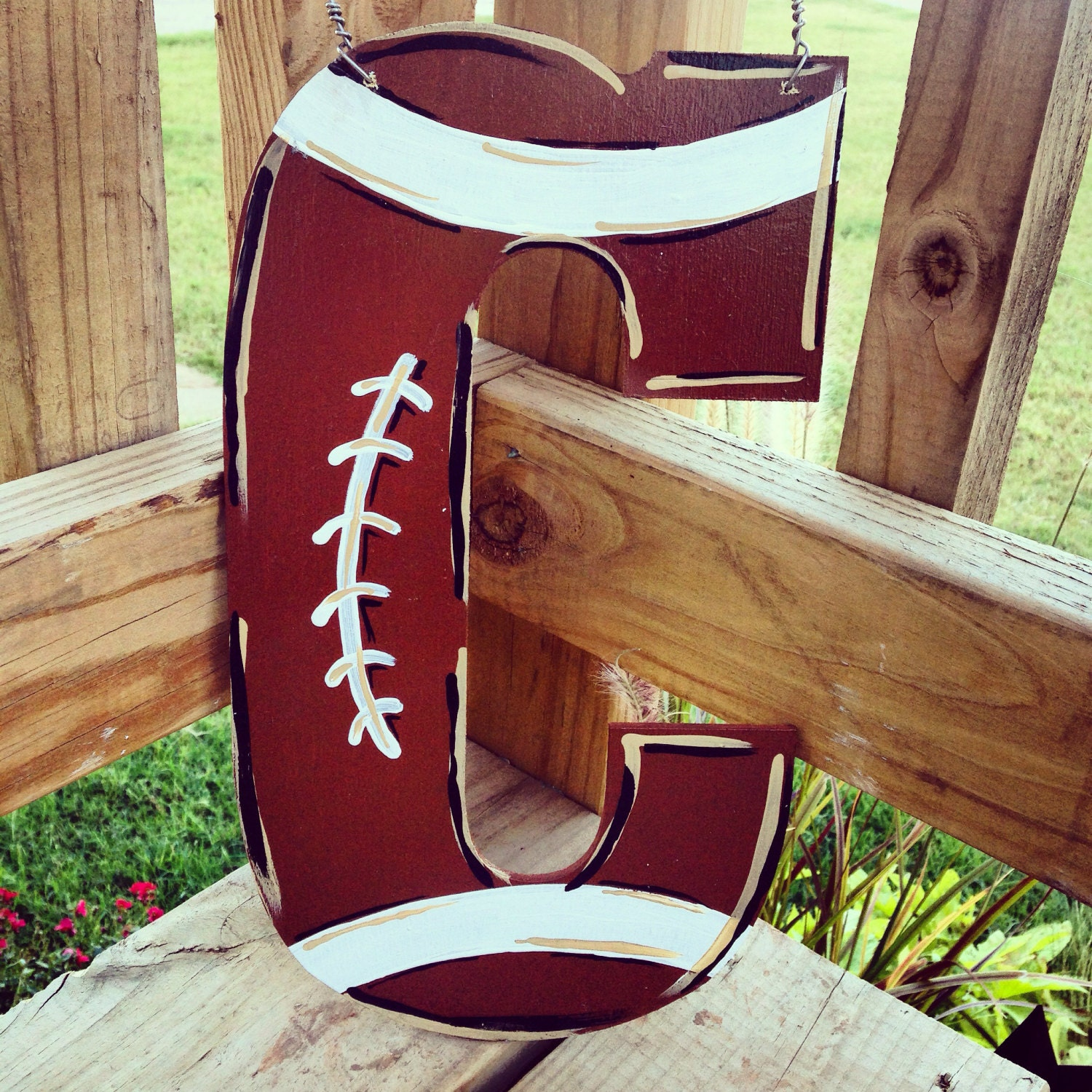 Hand Painted Football Themed Initial Door Hanger By Allyinman