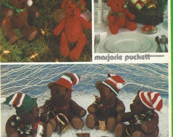 1980s Marjorie Puckett Small and Large Felt and Fabric Bears Simplicity Sewing Pattern 6569 UnCut Teddy Bears 5 1/2 and 9 1/2 Inch