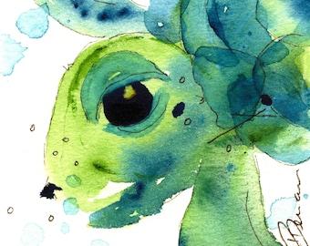 Sea Turtle Art Print, Child's Room Decor, Colorful Sea Turtle Art, Bathroom Decor
