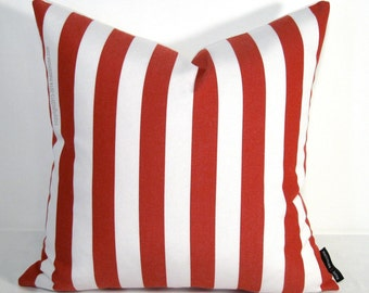 "Sale - Red White Striped Outdoor Indoor Pillow Cover, Decorative Crimson Throw Pillow Case, Cushion Cover, Candy Stripes 16""x16"""