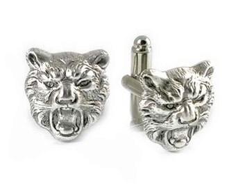Cufflinks Neo Victorian Antique Sterling Silver Tiger Head Safari Cuff Links Vintage Inspired