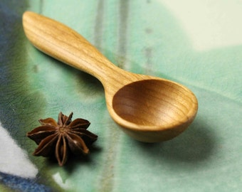 Handmade wooden spoon kitchen utensil teaspoon measure of Cherry wood , 1 tea. spice measure