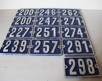 Vintage French House Number Loft Living, Select your Number 227, 239, 247, 251, 257, 262, 271, 274, 291, 298
