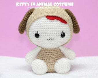 INSTANT DOWNLOAD PDF Pattern: Amigurumi Pattern Kitty in Dog Costume / Chinese Zodiac Dog