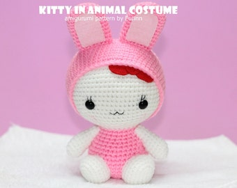 INSTANT DOWNLOAD PDF Pattern: Amigurumi  Kitty in Rabbit Costume /Chinese Zodiac  Rabbit