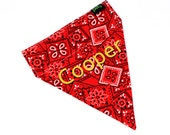 Red Dog Bandana Custom Name Embroidery option Cute trendy collar accessory for pets!
