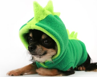 Dog Costume Dinosaur Spikes Green fleece dog Hoodie