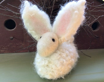 White Curly Wool Angora Bunny Rabbit Needle Felted