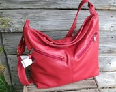 Red Leather Crossbody purse-Red Leather Large Purse for Women-Travel Bag-Large Crossbody Bag-Adjustable strap-Made in the USA - Rachel style