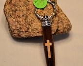 Key Ring Handcrafted Segmented Cross - secret compartment - Zipper Pull
