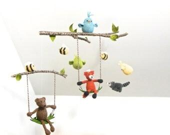 Mobile, nursery mobile, Baby Mobile, Woodland Mobile, Fox Bear Bee Bird Raccoon Mobile, Tree, Swing, Boy Girl, Natural, Fiber Sculpture