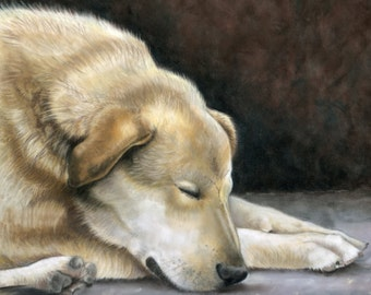 Alone Again- a pastel drawing from artist Wendy Leedy's dog collection- fine art print, signed.