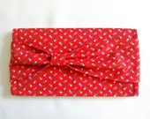 Adorable Red Floral Checkbook Cover with Bow