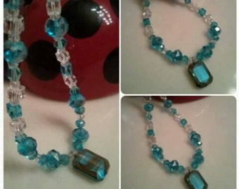 Handmade Beaded Necklace - Blue Crystal Necklace - Blue Glass Beaded Necklace - Glass Beaded Necklace Blue and White Crystals  25.50