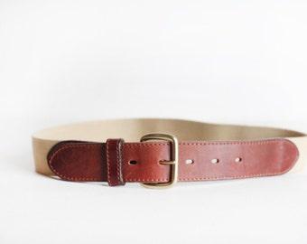Size 30 Vintage Men's Cotton Stretch Belt With Leather Tabs, Eddie Bauer