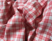 Vintage French Red and White Check Gingham Plaid Christmas Check Suitable for Patchwork Quilting Lavender Bags Feedsack Pillow
