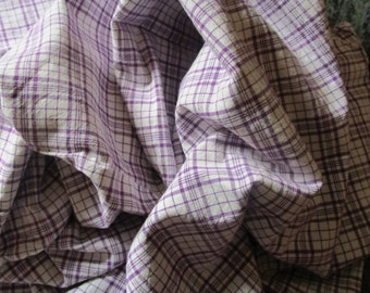 Vintage French Lilac Lavender Plaid Check Gingham Suitable for Patchwork Quilting Lavender Bags Feedsack Pillow